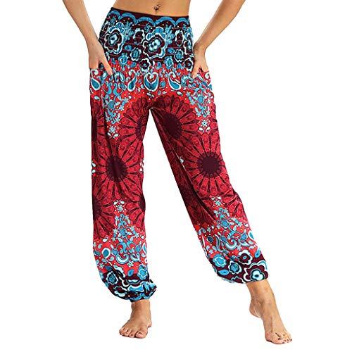 WUSIKY Haremshose Damen Sommerhose Damen Leicht Pumphose Culottes Hosen Boho Hose ThailäNdisches Hippie Kittel Taillen Yoga Umstandshose Hippie Kleidung Haremshosen Frauen Aladinhose (Red, M)