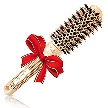Thermal Round Brush for Salon-Like Blowouts Styling Curling Short Hair  Chin to Neck  with Bouncy Curls & Shine Small Ceramic & Ionic Boar Hairbrush 1.3  Barrel 2.4  with Bristles