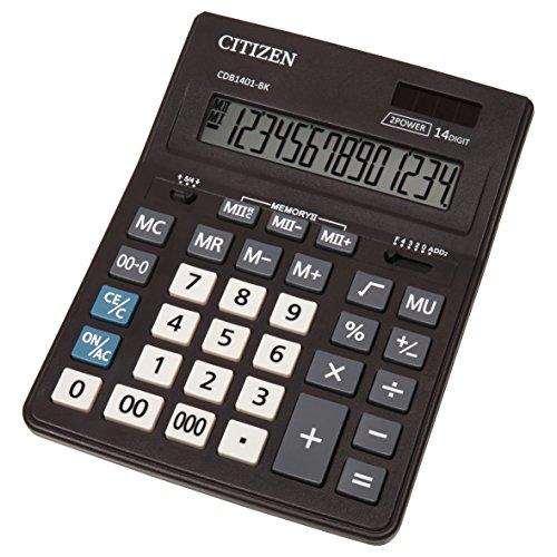 Citizen CMB 1401-BK Büro Taschenrechner, Solar und Batterie, 14 Stellen, Schwarz, 20,5 x 15,5 cm (TXB), 1 Stück