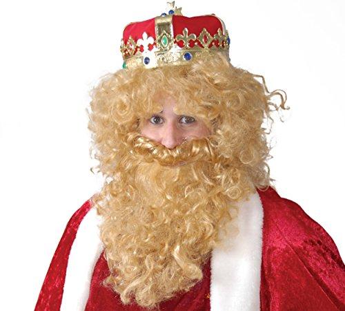 Guirca- Peluca y barba rey mago rubio en caja, Talla única