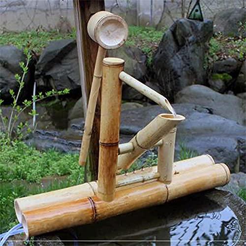 ZXMDP Fuente,Características del agua para el jardín,Bambú Goteo Coche Fluyendo Agua Paisaje Fuentes Jardinería