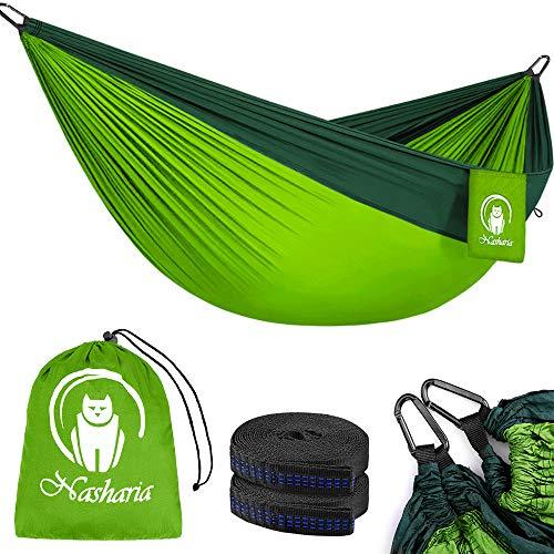 Nasharia Reise Camping Hängematte - 275 x 140 cm Atmungsaktiv, Schnelltrocknendes 210T Nylon Spinning - Fallschirmmaterial - 2 x Premium Karabiner, 2 x Nylon-Schlingen | Für Outdoor Drinnen Garten