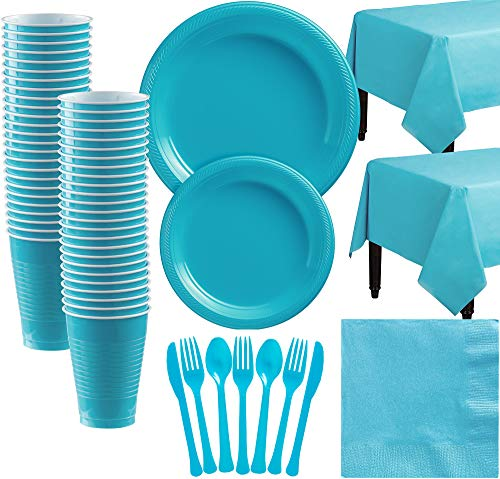 Amscan Caribbean Blue Plastic Tableware Kit for 50 Guests, Party Supplies, Includes Table Covers, Plates, Cups and More
