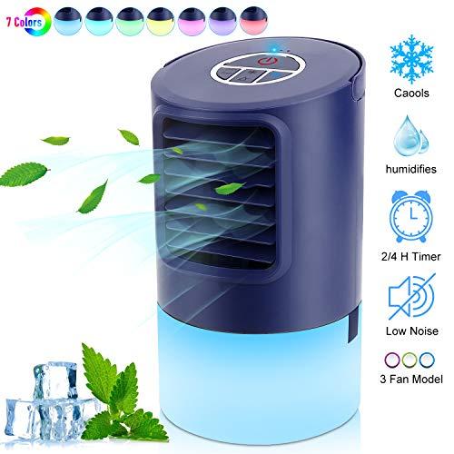 RenFox Mobile Klimageräte, Luftkühler Mini Klimaanlage, 4 in 1 Luftkühler Luftbefeuchtung Ventilator Nachtlicht, 2 Timer 3 Leistungsstufen 7 Verschiedene Farben, Ideal für Arbeitsplatz und Daheim