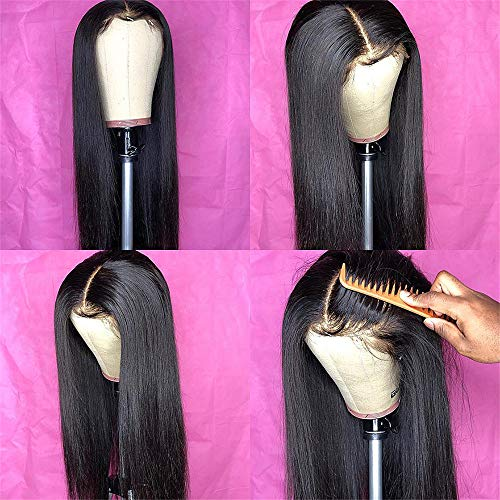 Fureya Glueless Wigs for Women Natural Black Silky Straight Hair No Lace Wig Middle Deep Part Cosplay Daily Party 24 Inch Wig