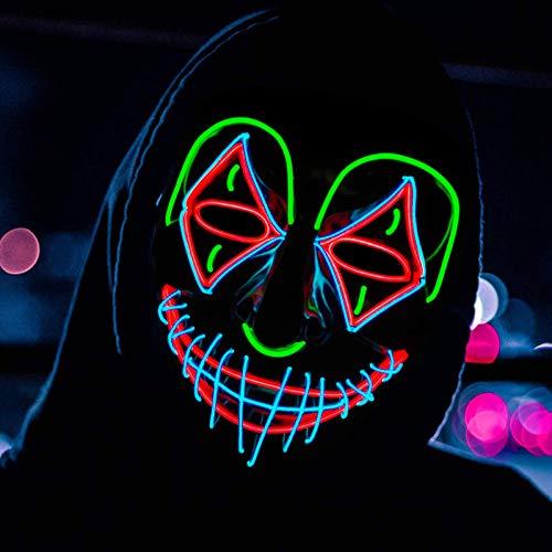 Atsuo Halloween led Maske gruselige Mask LED Purge Maske,Maske Fasching , Halloween LED MASK DASS Sie Sich von der Masse abheben