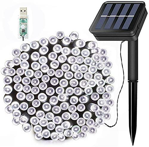 Guirnaldas Luces Exterior Solar,200LED 22M Luces Solares Led Exterior Jardin con USB energizado por, 8 Modos & Impermeable para Jardín, Bodas, Eésped, Patio, árbol de Navidad(Blanco)