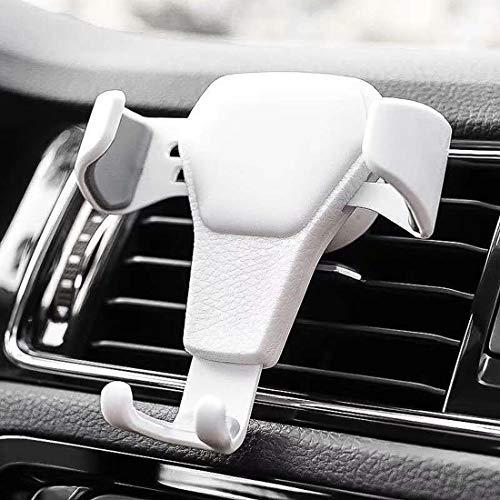 Byuru Auto Telefoon Houder Zwaartekracht Beugel Automatisch Draait Driehoek Vaste Kleine En Prachtige Multi-Kleur Optionele Air Conditioner Outlet Met één hand Bediening Kleur: wit