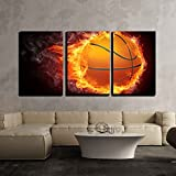 wall26 - 3 Piece Canvas Wall Art - Basketball Ball on Fire. 2D Graphics. Computer Design. - Modern Home Art Stretched and Framed Ready to Hang - 24'x36'x3 Panels
