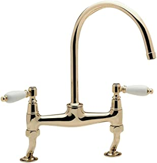 Traditional Kitchen Sink Bridge Mixer Tap With Cranked Legs Brushed Steel Finish Kitchen Sink Faucets Basin Mixer Faucet