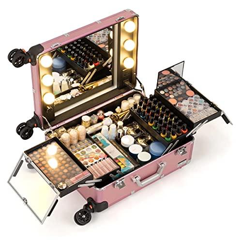 HYDL Malette Maquillage Professionnel, Valise Trolley Maquillage avec Miroir et Lumières, Maquillage Aluminium Boîte de Cosmétique Organiseur Professionnel Beauté Cas Vanité Grande