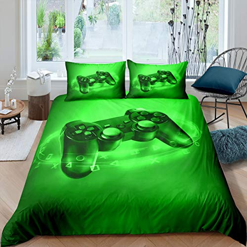 Game Duvet Cover 3D Gamepad Printed Bedding Set for Kids Boys Girls Adults Video Game Gamepad Comforter Cover Cool Game Controller Bedspread Cover Bedroom Collection 3Pcs Double Size,Green