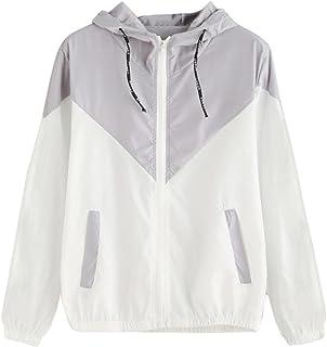 SakuraBest Women Long Sleeve Patchwork Thin Skinsuits Hooded Zipper Pockets Sport Coat