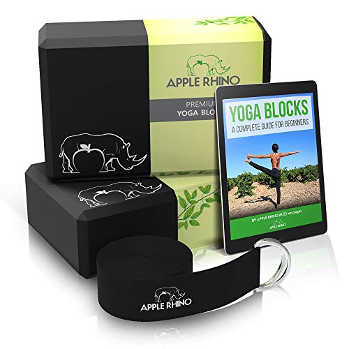APPLE RHINO™ 2nr Yoga Blocks and Strap - Includes FREE e-Book; 2 pack high density yoga block with metal D ring cotton belt; provides Stability, Balance, Strength for yoga and pilates practice