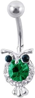 SBI Jewelry الفولاذ المقاوم للصدأ البومة البطن زر الدائري استرخى الجسم الحيوان السرة خواتم للنساء الفتيات عيد الميلاد