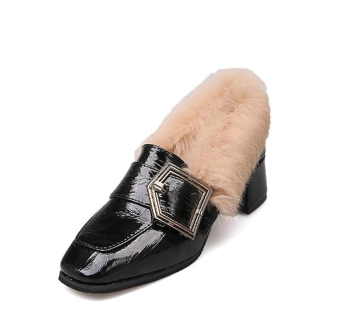 純粋なましいバッテリー[THLD] モカシン ローファー ショートブーツ ブーティ パンプス 靴 シューズ ぺたんこ 太ヒール チャンキーヒール もこもこ ファー付き バックル エナメル ベルト付き 30代 40代 50代 母親 ママ 大人 暖かい 柔らかい レディース 秋 冬