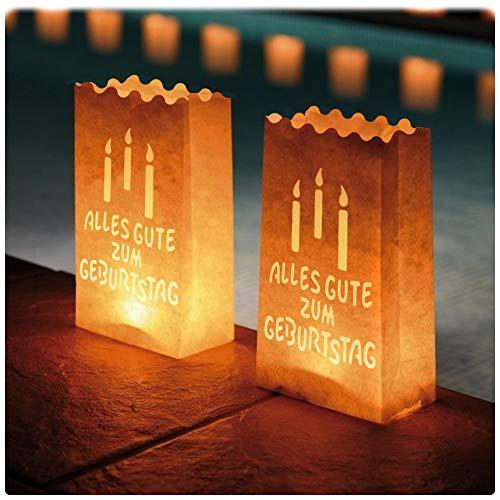 Ecooe 10 Stk. Lichtertüten für Teelichter Kerzen Alles Gute zum Geburtstag Candle Bags für Birthday Party Lichttüten weiß
