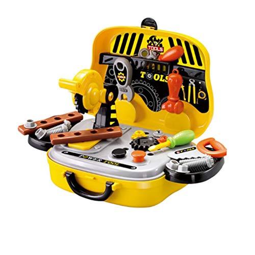 Kinderen doen alsof ze spelen Simulatie Tools set, kinderen plastic gereedschap Schroeven zag koffer Kids Plastic Toy Set verjaardagscadeau