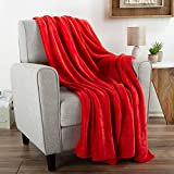 "Flannel Fleece Throw Blanket- For Couch, Home Décor, Bed, Sofa & Chair- Oversized 60"" x 70""- Lightweight, Soft & Plush Microfiber in Desert Tan by Bedford Home, Crimson Red"