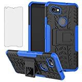 Phone Case for Google Pixel 2XL with Tempered Glass Screen Protector Cover and Stand Kickstand Hard Rugged Hybrid Heavy Duty Protective Cell Accessories Pixle 2 XL Pixel2XL Pixel2 LX Cases Black Blue