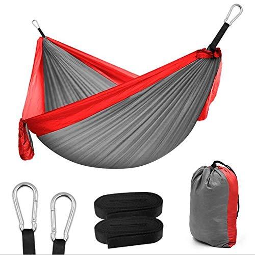 Hamac 300x200cm Portable Camping Parachute hamac Mobilier de Jardin Loisirs Dormir Lit Double Suspendu (Color : Gray Red)