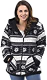 TrailCrest Ladies Smart Plush Sherpa Lined Hooded Sweater Jacket - Zip-Up Classic Pattern