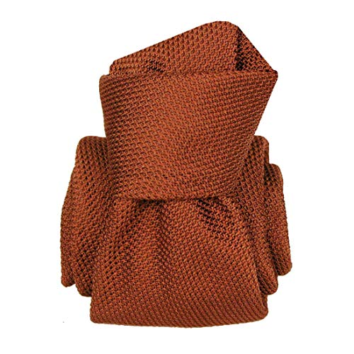 Segni et Disegni. Cravate grenadine de soie. Premium, Soie. Rouge, Uni. Fabriqué en Italie.