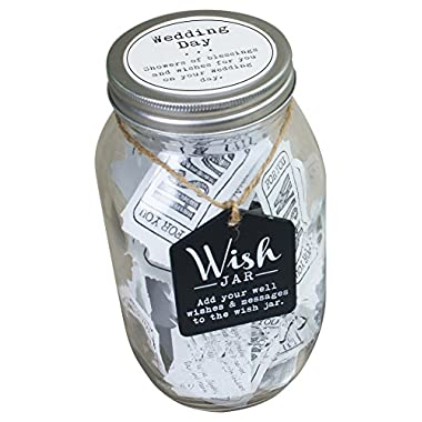 Top Shelf Wedding Wish Jar ; Unique and Thoughtful Gift Ideas for Newlyweds ; Novelty Gift for Bridal Shower, Engagement Party, and Wedding Reception ; Kit Comes with 100 Tickets and Decorative Lid