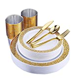 150 Piece Gold Dinnerware Set, Elegant Lace Disposable Plastic Plate Include:25 Dinner Plates, 25 Dessert Plates, 25 Forks, 25 Knives, 25 Spoons, 25 Cup, Ideal for Halloween, Thanksgiving, Christmas