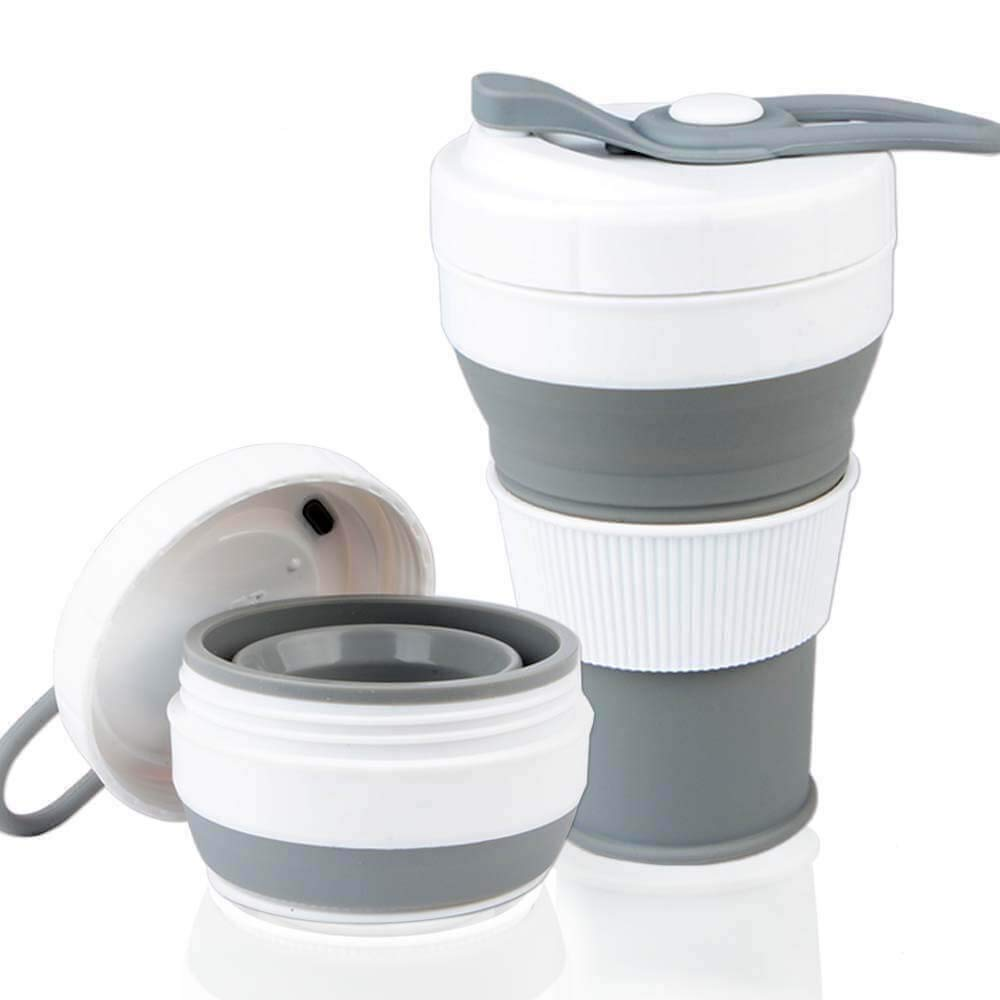 450ml Collapsible Cup Silicone with Straw and lid Reusable
