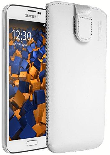 mumbi Echt Ledertasche kompatibel mit Samsung Galaxy S5 / S5 Neo Hülle Leder Tasche Case Wallet, weiss