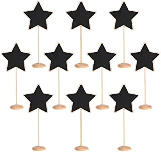 TRIXES 10PCS Star Table Chalkboards on Stand Rustic Decorative Table Placemats for Weddings and Dinner Parties