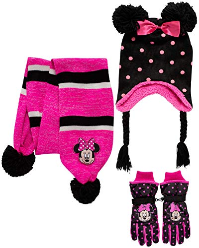 Disney Girls' Insulated Snow Glove Set – Minnie Mouse or Frozen Winter Hat, Scarf, and Mitten or Gloves (Toddler/Little Kid), Size Age 4-7, Minnie Glove