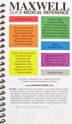 Compare Textbook Prices for Maxwell Quick Medical Reference 6 Edition ISBN 9780964519145 by Maxwell, Robert W.