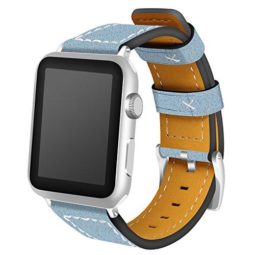 Band voor Apple Watch, AISPORTS iWatch Band 38mm Lederen Smart Horloge Band Vervanging Band met RVS Armband Gesp Polsband voor 38mm Apple Horloge Series 3/2/1 Sport Edition 42mm Blauw