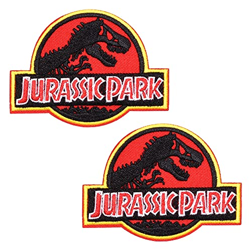 Sgucci Parche bordado Jurassic Park dinosaurio Jurassic World Raptor Parche de costura y planchado para ropa, mochilas, vaqueros, decoración, accesorios de bricolaje, 2 piezas