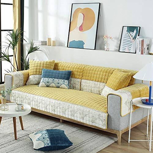 Suuki living room Furniture covers,couch towel,Lace Sofa shield for living room,modern couch slipcover,plush non-slip sofa covers,Arm Cover,Study/Lounge sofa cushion cover-yellow_Pillowcase_45*45cm