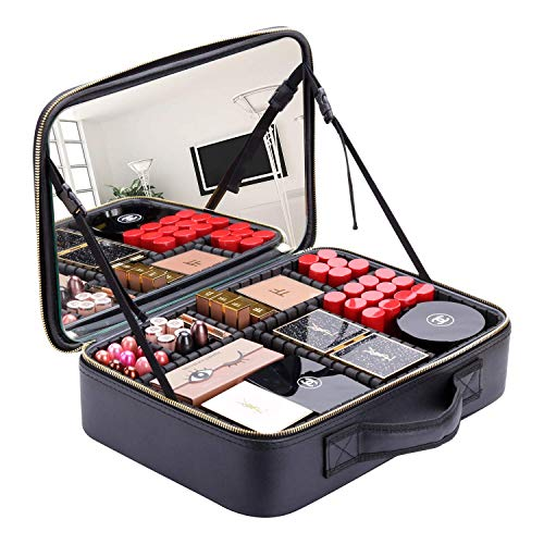 BEGIN MAGIC 16' Large Makeup Train Case Makeup Case with Mirror, Extra Large Cosmetic Case Makeup...