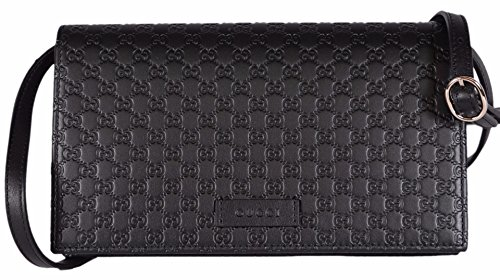 Gucci Women's Leather Micro GG Guccissima Mini Crossbody Wallet Bag Purse (Black)