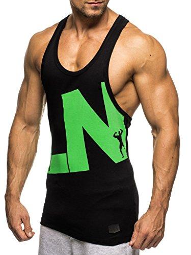 Leif Nelson Gym Herren Stringer T-Shirt für Sport Fitness ohne Ärmel Männer Bodybuilder Trainingsshirt Top ärmellos Sportshirt - Bekleidung für Bodybuilding Training LN20150496 Schwarz-Grün XX-Large
