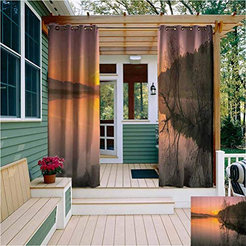 Lake House Decor Collection Extra Long Outdoor Curtain Misty Morning Sunrise Tree Silhouettes Sunlight Riverbank Lake Colorful Sky Forest Fog Outdoor Drape for Pergola/Porch, Tan Multi W72 x L63 Inch