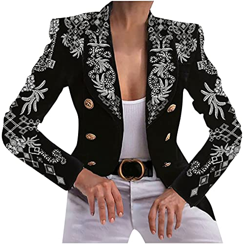 WANGTIANXUE Blazer - Chaqueta de mujer de dos vueltas, estrecha, bonita impresión, blazer, corta, informal, moderna, fina, chaqueta de invierno, con bolsillo, elegante, manga larga, Negro , M