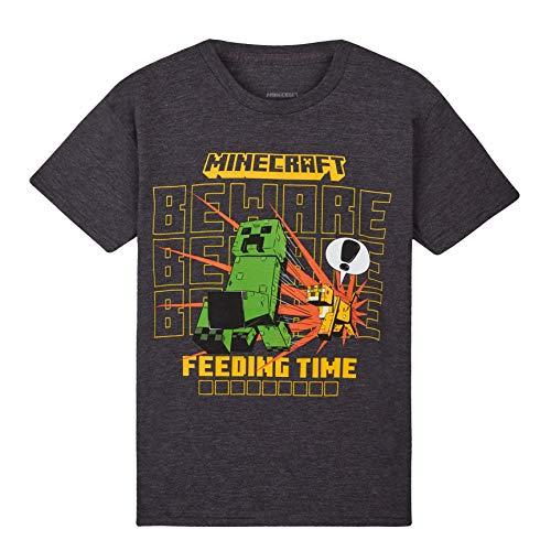 Minecraft Camiseta Niño, Ropa Niño Algodon 100%, Camisetas para Gamers en Negro y Gris, Regalos para Niños y Adolescentes Edad 4-15 Años (5-6 años, Gris Oscuro)