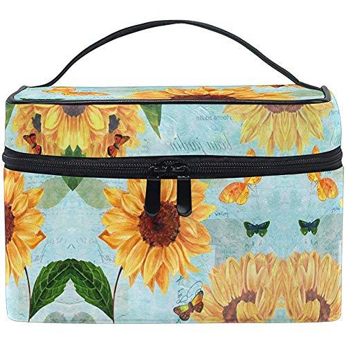 Peinture à l'huile Automne Tournesol Maquillage Sac Tropical Poppy Daisy Toilette Brosse Transportant Portable Pochette De Rangement Sacs