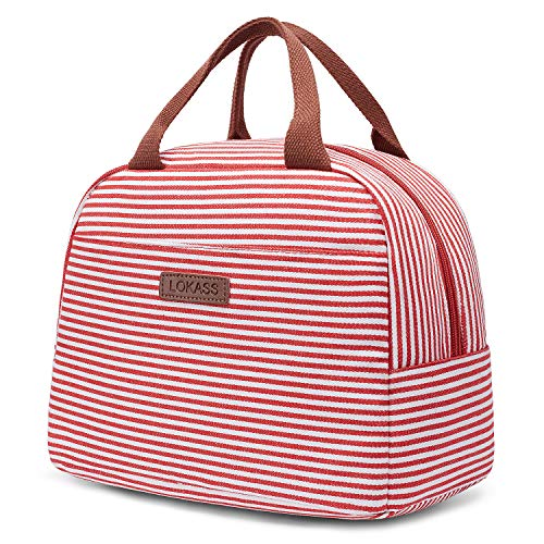 LOKASS Lunch Bag Cooler Bag Women Tote Bag Insulated Lunch Box Water-resistant Thermal Lunch Bag Soft Leak Proof Liner Lunch Bags for women/Picnic/Boating/Beach/Fishing/School/Work (Red)