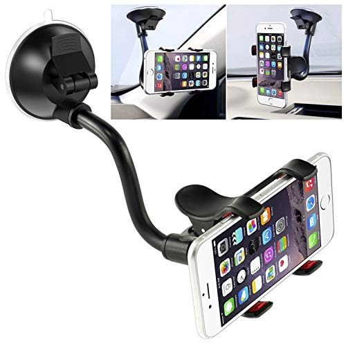 Car Phone Mount Windshield, Long Arm Clamp iVoler Universal Windshield with Double Clip Strong Suction Cup Cell Phone Holder Compatible iPhone 11 Pro XS Max X 7 8 6 Plus Galaxy S9 S8 S7 Note 9 10