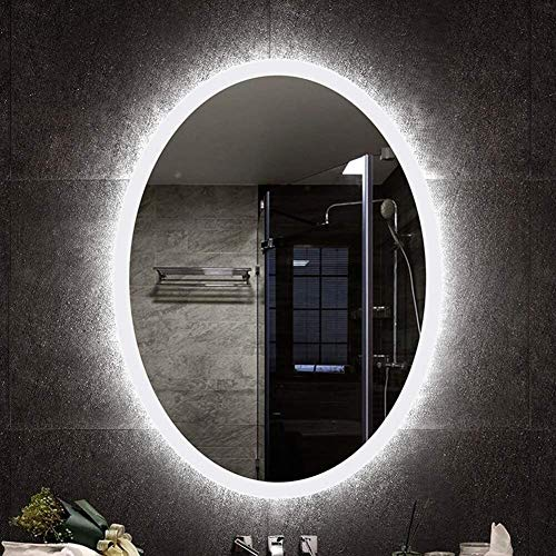 MTFZD 70x90cm LED Badezimmerspiegel mit Lichtern An der Wand montiert Nichtigkeit Bilden Spiegel Oval zum Rasieren von Kindern nasse Wand (Color : 600x800mm White Light)
