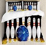 Juego de funda nórdica para fiesta de bolos, azul Resumen de bolas en los pasadores de carril Ver juego deportivo de tiempo libre, juego de cama decorativo de 3 piezas con 2 fundas de almohada, azul a