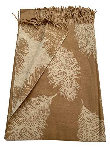 Bufanda con estampado de plumas de KHAKI súper suave, bonita borla invertida, suave y cálida, elegante bufanda a la moda