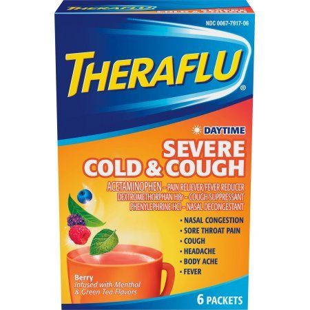 Theraflu Cold & Flu Relief Daytime Severe Cold & Cough, Hot Liquid Powder, Berry Flavor, 6 Packets